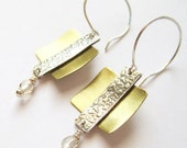 Baroque Fine Silver and Brass Earrings