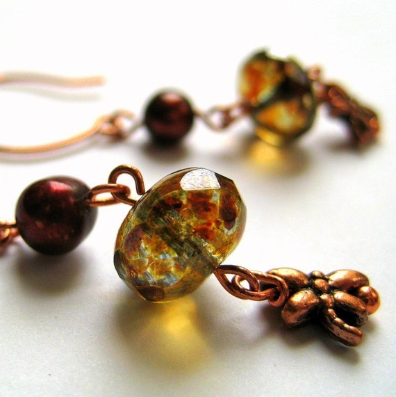 Copper Dragonfly Glass Bead and Freshwater Pearl Earrings