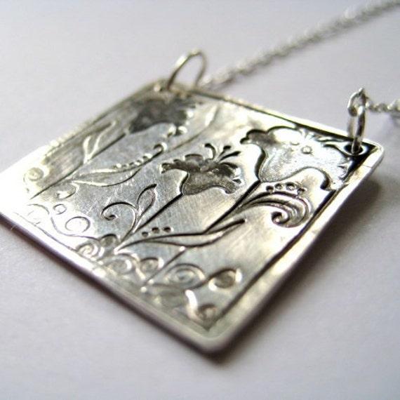 Fine Silver Pendant Necklace Iris Trio