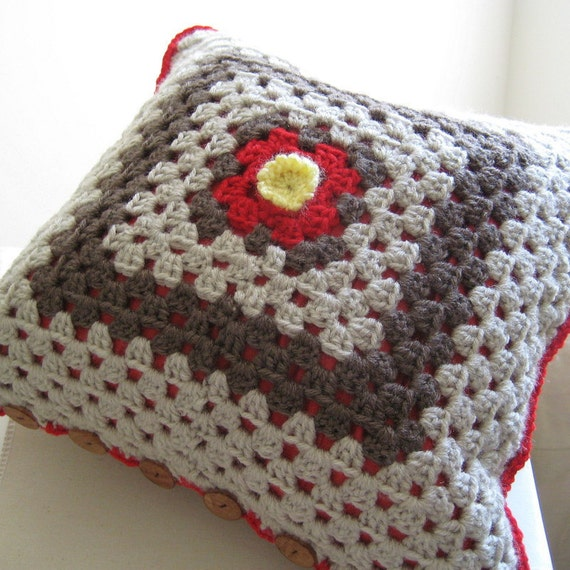 Crochet Pillow Cover in Red and Gray