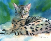 Mau Bengal Art Print of my Original Watercolor Painting Anneli's Mau