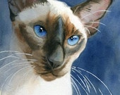 Siamese cat art PRINT Giclée Watercolor Painting on Blue