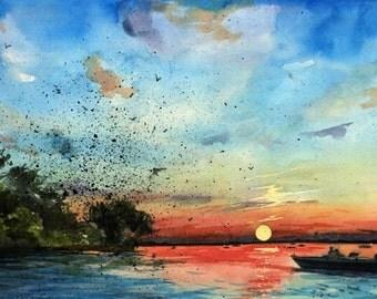 Lake Landscape Original Watercolor Painting of a Lake Murray South Carolina