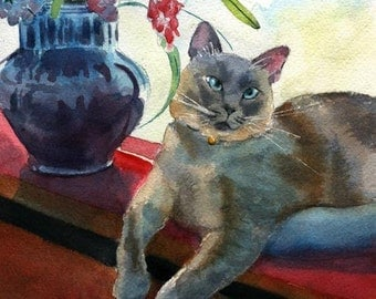 Lilac Siamese cat Art Applehead Print of my watercolor painting Bouquet