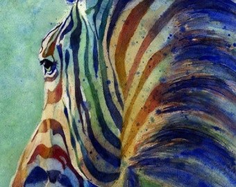 Zebra Art Print of my watercolor painting Zebra on Alert Baby Shower Gift Nursery