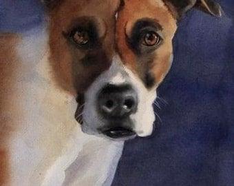 Boxer dog art Print of my watercolor painting                  Boxer Portrait