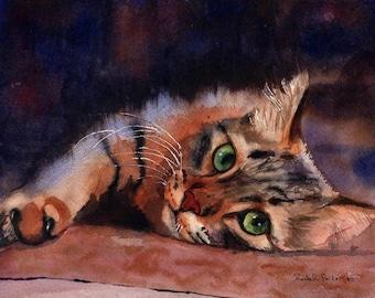 Tabby Cat Art Print of my Watercolor Painting .Floored II.
