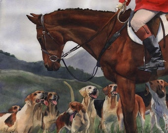 Foxhunt art PRINT Hunt Horse Hounds Signed Limited Edition watercolor painting Giclée Hand Painted Large Big Custom Thoroughbred Fox Hunt