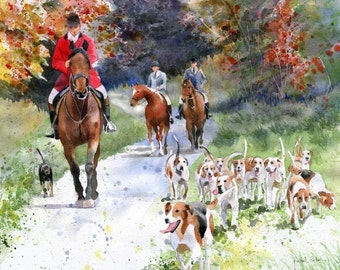 Horse Foxhunt Art Following the Hounds PRINT