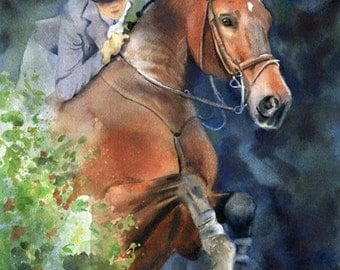 Thoroughbred HunterJumper Horse Art Print Painting Art Equine Equestrian