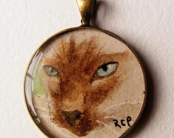 Original Art Jewelry Necklace Pendant of a siamese cat