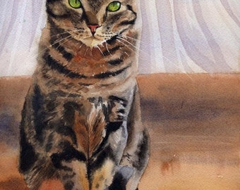 Brown Tabby Cat Art Print of my watercolor painting Artwork Artist huge large big hand painted custom giclee reproduction