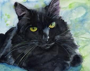Black Cat Art Painting PRINT Watercolor Rachel Parker Large Huge Big Giclee Hand Painted Artist Artwork