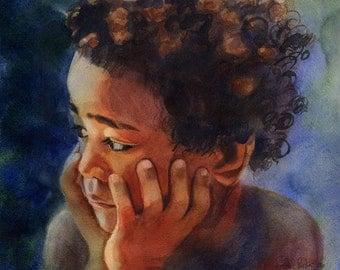 African American Black Boy Child Art Print of my watercolor painting   Sami