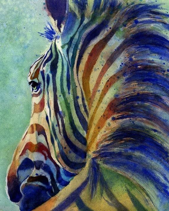 Zebra Art Print of my watercolor painting Zebra on Alert Baby Shower Gift Nursery