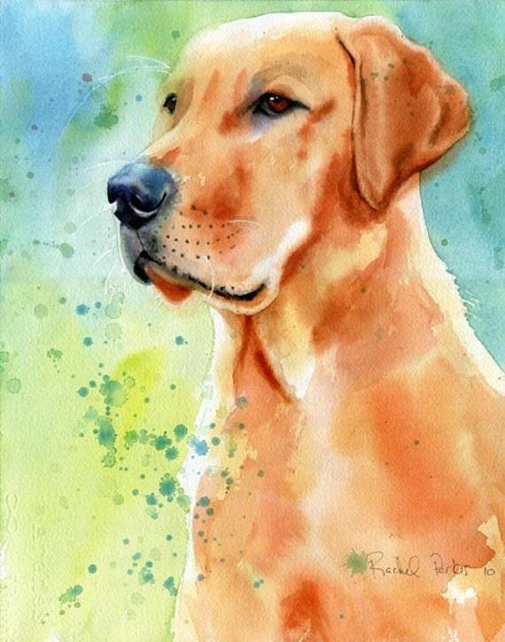 Yellow Labrador Retriever dog art Print of my watercolor painting