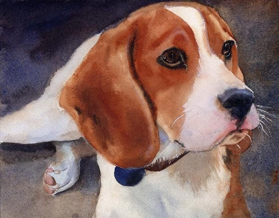 Beagle dog hound art Print of my watercolor painting
