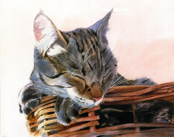 Brown Gray Tabby Cat Art Print of my watercolor painting Basket Case Cat Lover