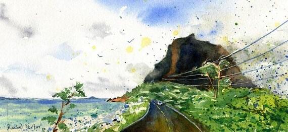 Hawaii Landscape watercolor original painting