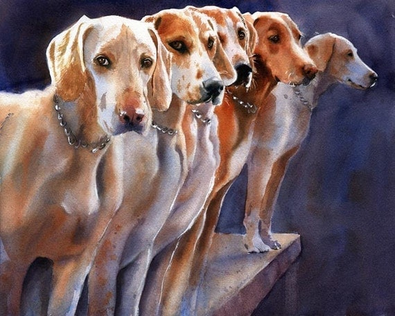 Penn-Marydel Hound dogs Foxhunt Print of my watercolor art painting