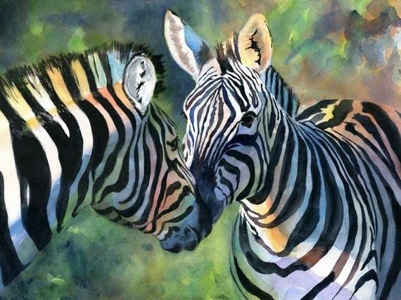 Zebra Art Safari Africa Wildlife Print Big Huge Large Custom Hand Painted Nursery Decor Watercolor Painting