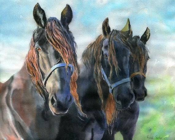Friesian Andalusian Horse Art Print of my Watercolor Painting