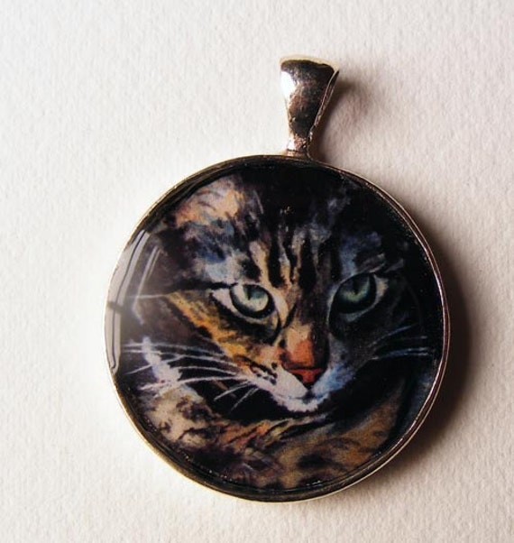 Maine Coon Tabby Cat Art Jewelry Necklace Pendant