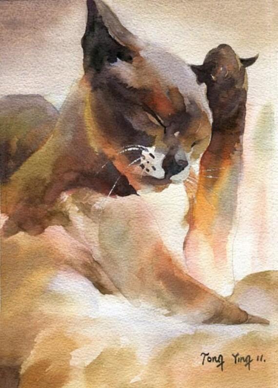 Siamese Cat art - Original Watercolor Painting