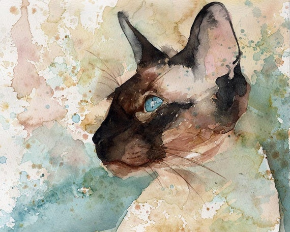Siamese Cat Chocolate Seal Point Art Print of my Watercolor painting On Window Watch