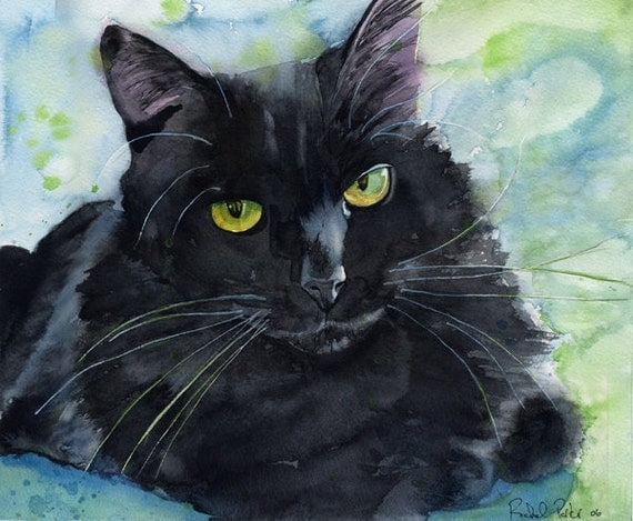Black cat art painting print watercolor rachel parker large for Cat paintings on canvas
