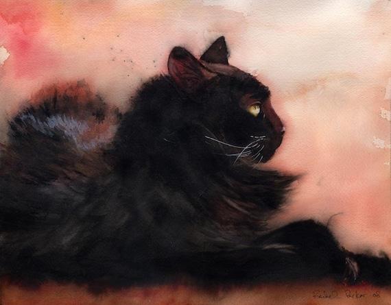 Black Cat art Print of my Original Watercolor Painting Unique Cat Lover Gift Black Salmon Orange Decor Reproduction Large Huge Big Girl