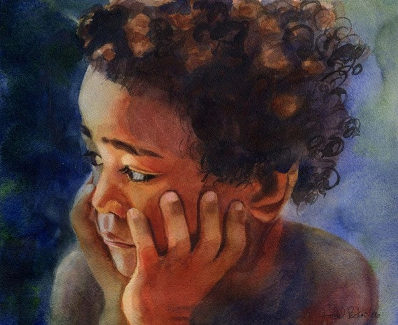 African American Black Boy Child Art Print of my watercolor painting   Sami