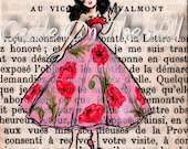 Original ACEO painting on vintage book page - Paris, 1958 - Poppy Dances In Her Favourite Dress