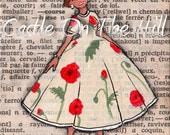 Original ACEO painting on vintage book page - Paris, 1952 - Poppy Dress In Cream