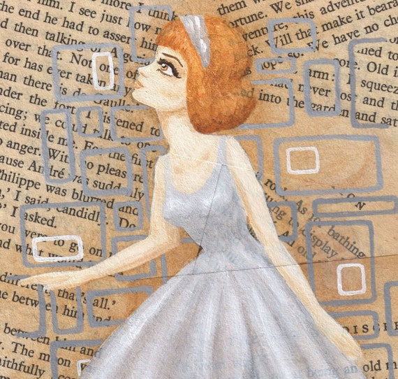 Original painting on vintage book pages - Evie Chooses Her Wallpaper
