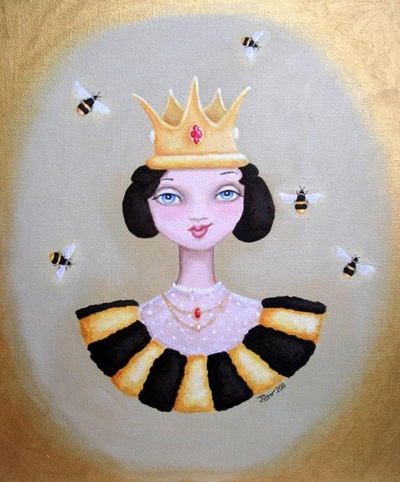 Original acrylic painting - 10 x 12 - Queen Bee
