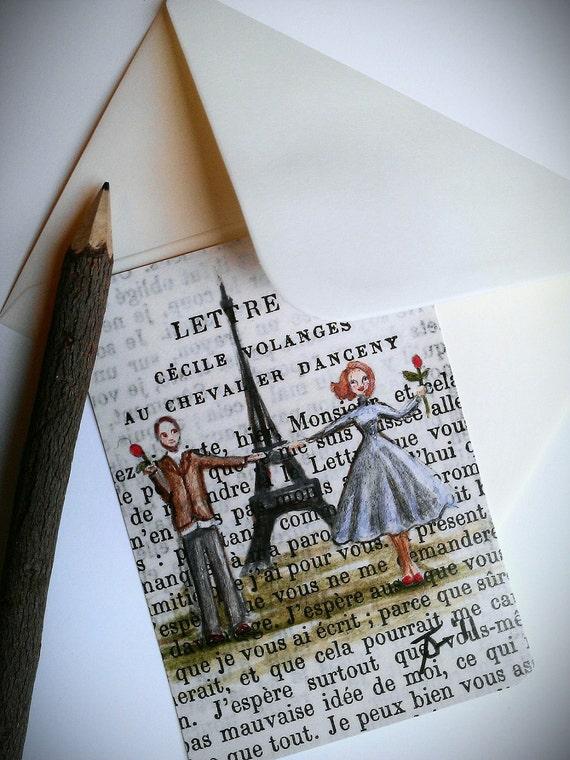 Single postcard with ivory envelope - Paris, 1955 - Marcel et Janelle