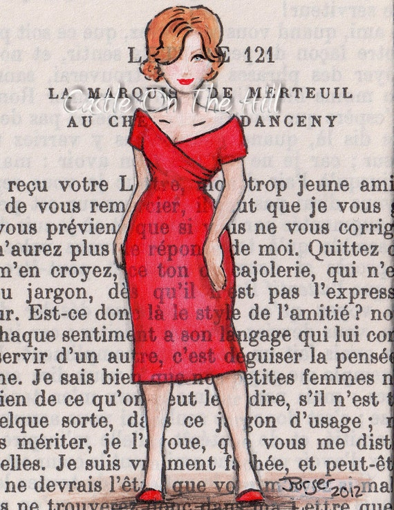 Original ACEO painting on vintage book page - Paris, 1961 - What She Wants