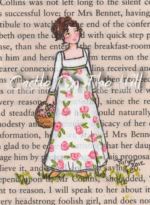 Original Jane Austen ACEO painting on Pride and Prejudice book page - Gathering Pink Roses