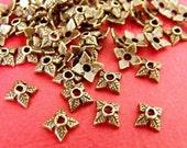 50pcs 6mm Antique Bronze Four Leaf Bead Caps