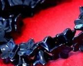 Sale 20pcs Morning Glory Black Glass Flower Cone Beads 14x9mm