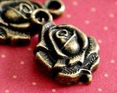 Sale Lead Free 20pcs 20mm Antique Brass Rose Pendants A976