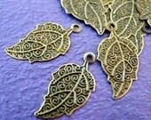 Sale 100pcs 25mm Antique Bronze Leaf Drop Charms E276Y-AB