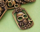Sale Lead Free 8pcs Antique Bronze Skull Pendants MLF9164Y-NF