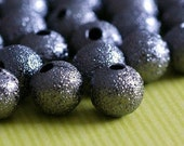 50pcs Gunmetal Stardust Round Beads 6mm