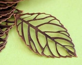 20pcs 54mm Antique Copper Leaf Filigree Pendants E160Y-NFR