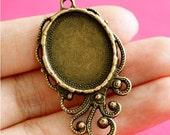 Sale Lead Free 10pcs Antique Bronze Oval Cameo Base Setting Pendants 0591-AB-LF
