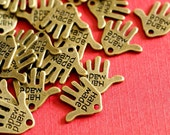 Nickel Free 25pcs Antique BronzeE Hand Charms 12mm - MLF0073Y-NF
