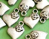 Sale 24pcs Antique Silver Heart with Rose Pendants Z40251Y