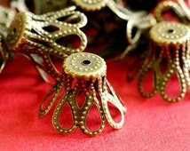 Sale 24pcs 17mm  Antique Brass Bell Shape Filigree Bead Caps E115-NFAB